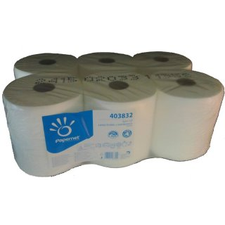 Innenabrollung Zellstoff, weiß, 2 lg., a 6 Rollen x 450 Abrisse