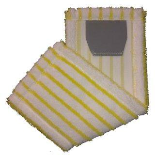 Microfaser - Borstenmop, weiß/gelb, mit Laschen, a 40 cm