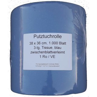 Putztuchrolle 3lg., blau, Tissue a 38 x 36 cm